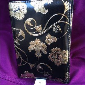 Handbags - FLORAL  foil gold/black PASSPORT CASE EUC